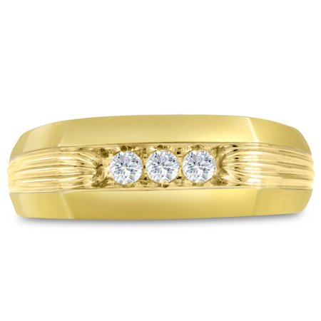Men's 1/4ct Diamond Ring In 10K Yellow Gold I-J-K I1-I2 Size 12.5