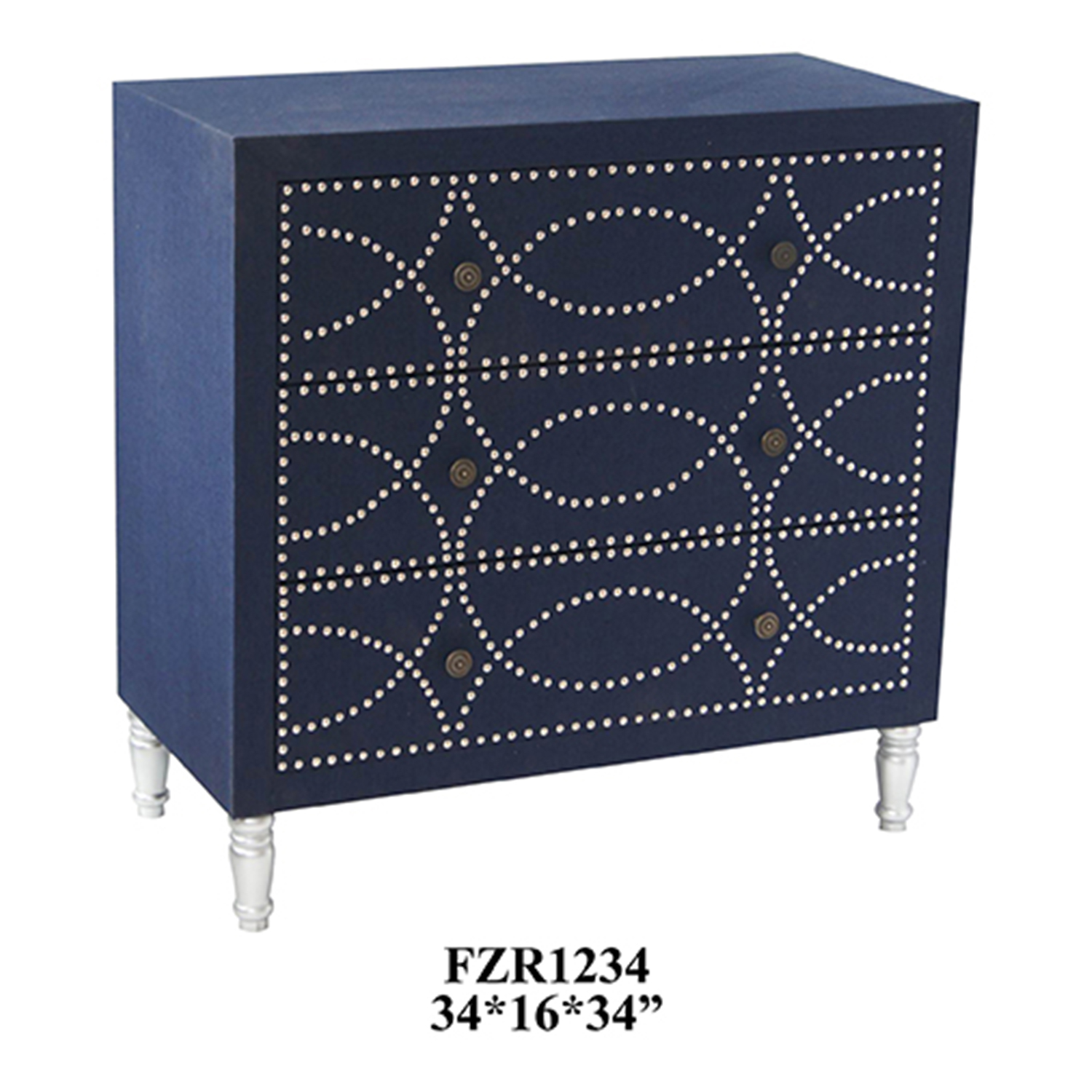 Crestview Cobalt Blue Fabric And Chrome Nailhead 3 Drawer Chest CVFZR1234