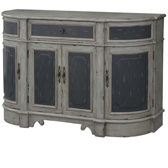 Barrington 1 Drawer   4 Raised Panel Door Credenza 2 Tone Textured Grey Finish by Crestview Collection