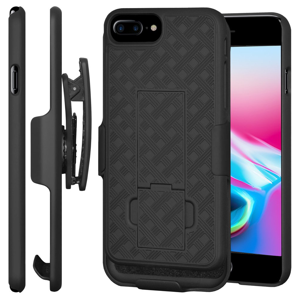 iPhone 8 Plus Case Holster, Premium Shell & Holster Case Super Slim Shell Case with Built-In Kickstand + Swivel Belt Clip Holster for Apple iPhone 8 Plus - Black