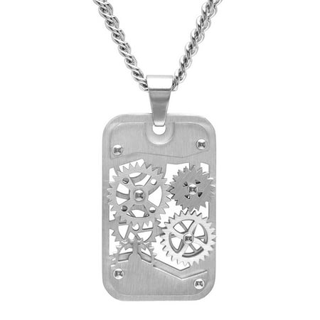 Men's Stainless Steel Gear Dog Tag Pendant Necklace Chain