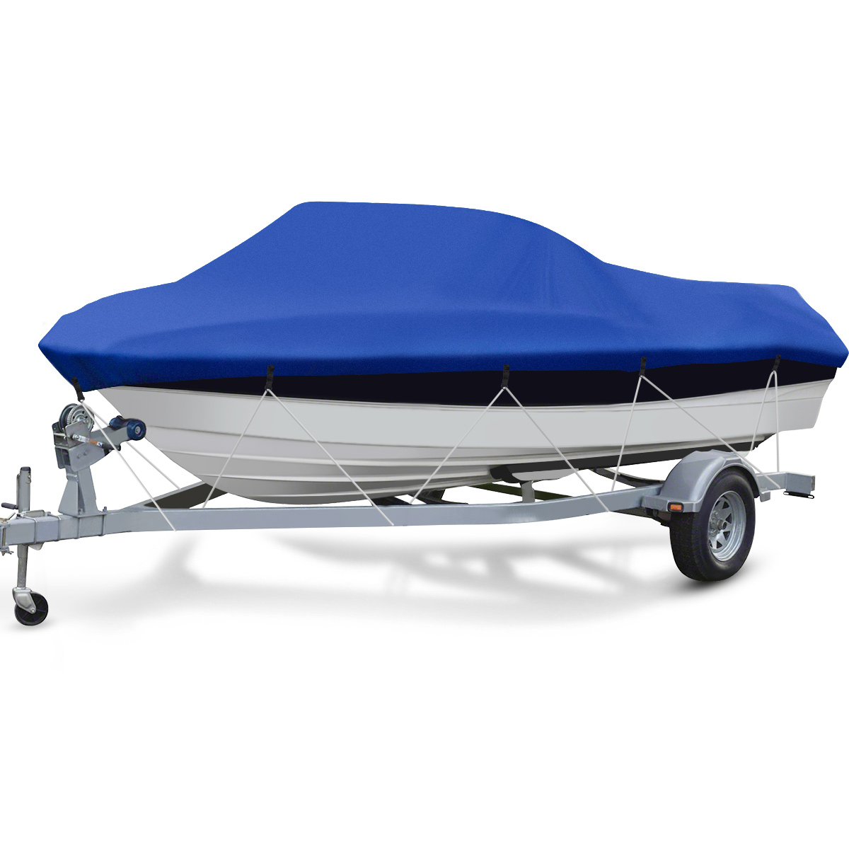 Favoto Trailerable Boat Cover Marine Grade Heavy Duty 600D Oxford Fabric Waterproof Sun Outdoor Protection with Carrying Bag Windproof Straps Sealed Seams Fit 17-19 V-Hull Tri-Hull