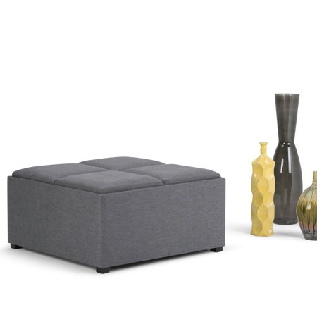Simpli Home Avalon Coffee Table Storage Ottoman with 4 Serving Trays ()