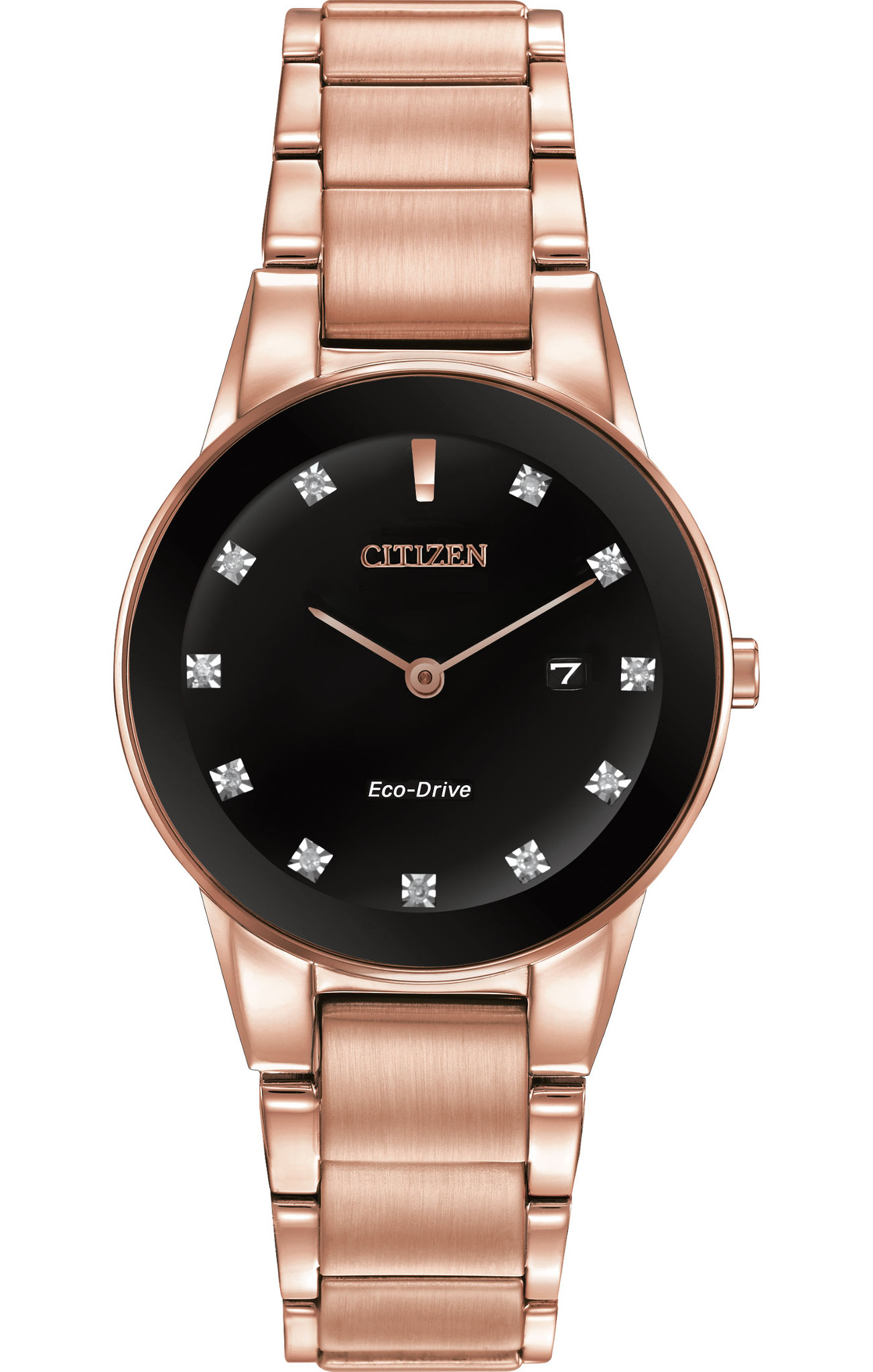 77fbd200a4 CITIZEN - Axiom Rose Gold Black Eco-Drive Analog Women's Watch GA1058-59Q -  Walmart.com