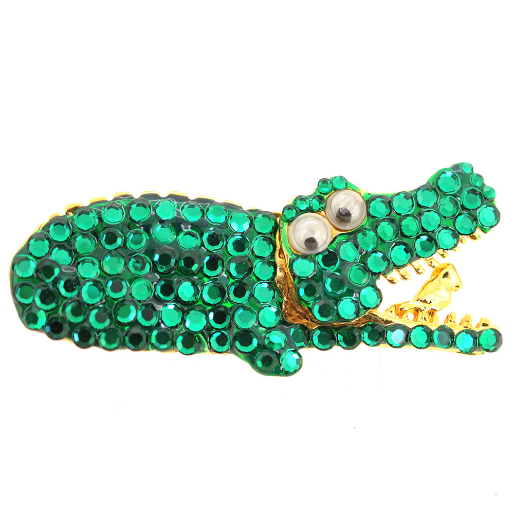 Green Crocodile Pin Brooch by