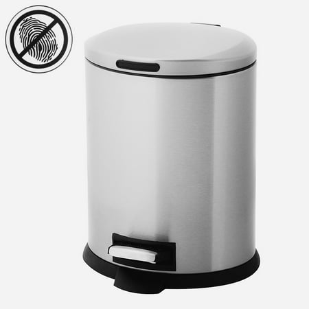 Home Zone 5L Small Trash Can With Lid And Foot Pedal Removable Bin Stainless Steel Garbage Can Oval Waste Basket 30l Retro Pedal Bin