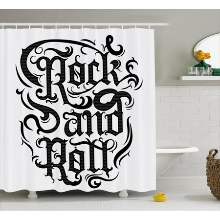Rock Music Shower Curtain, Vintage Hand Lettering Rock and Roll Retro Concept Art Abstract Swirled Lines, Fabric Bathroom Set with Hooks, 69W X 70L Inches, Black Dimgrey, by Ambesonne