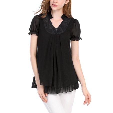 Flounce Sleeve (Women Short Sleeves Flounce V Neckline Pleated Tunic Tops)