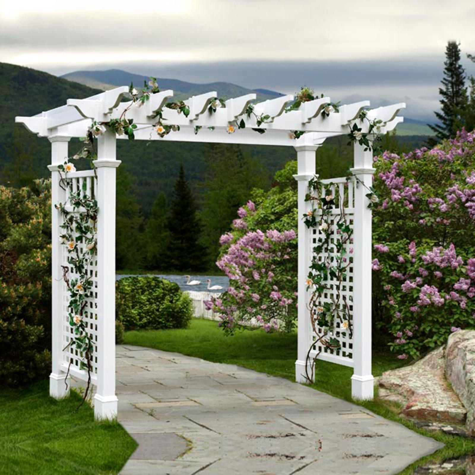 New England Arbors Fairfield Grande 7.25-ft. Vinyl Pergola Arbor by New England Arbors