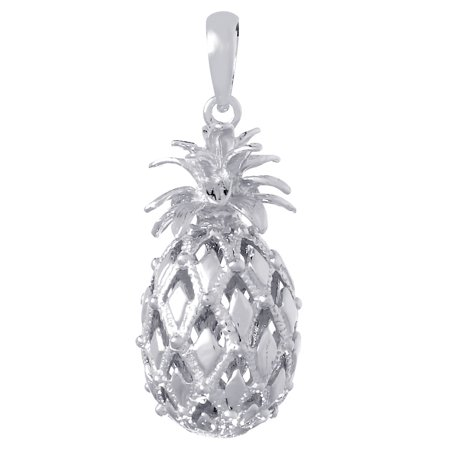 925 Sterling Silver Nautical Charm Pendant, 3D Pineapple Cut-Out HP and Text