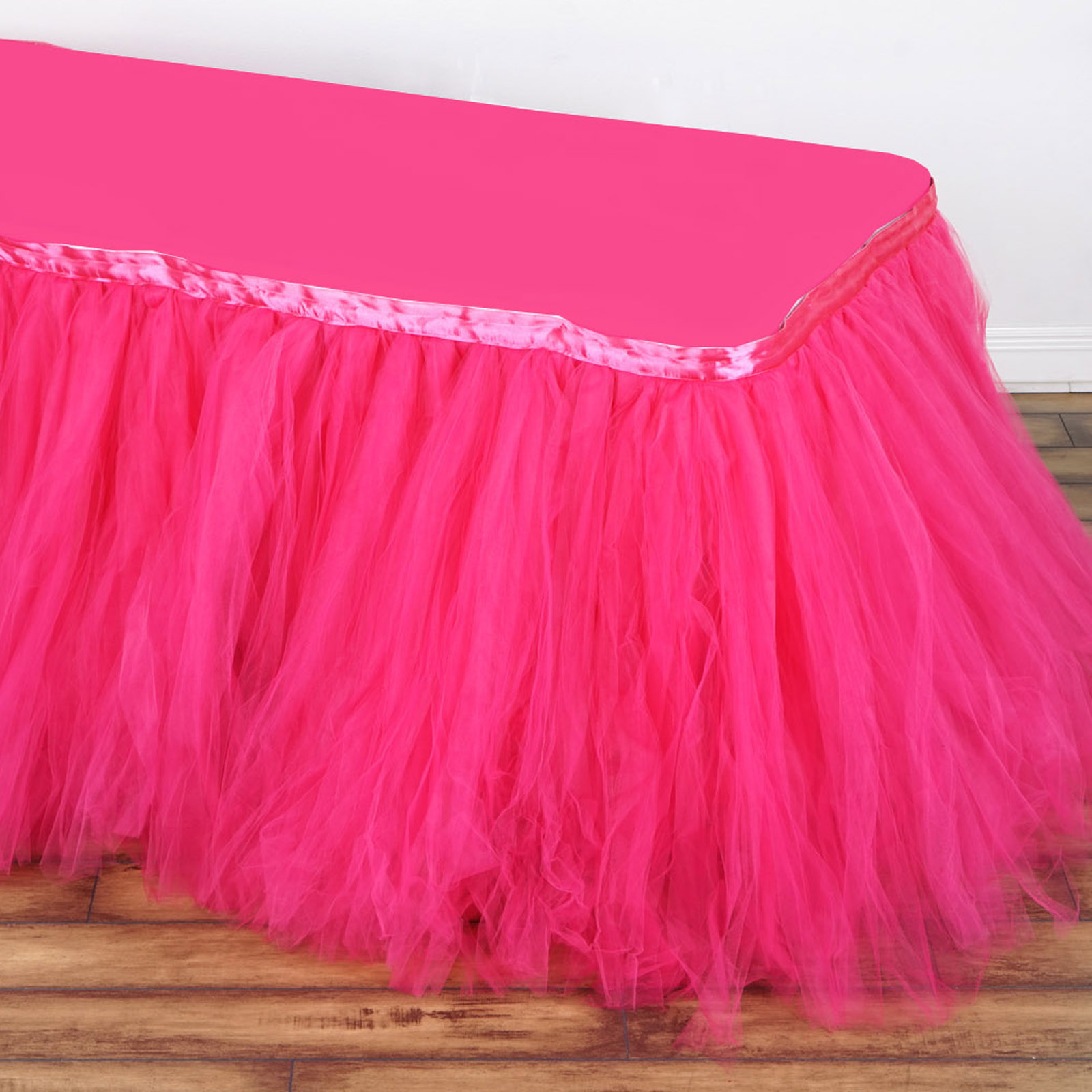 BalsaCircle Tutu Multi Layers Tulle Table Skirt - 3 sizes - Wedding Party Trade Show Booth Events Linens Decorations