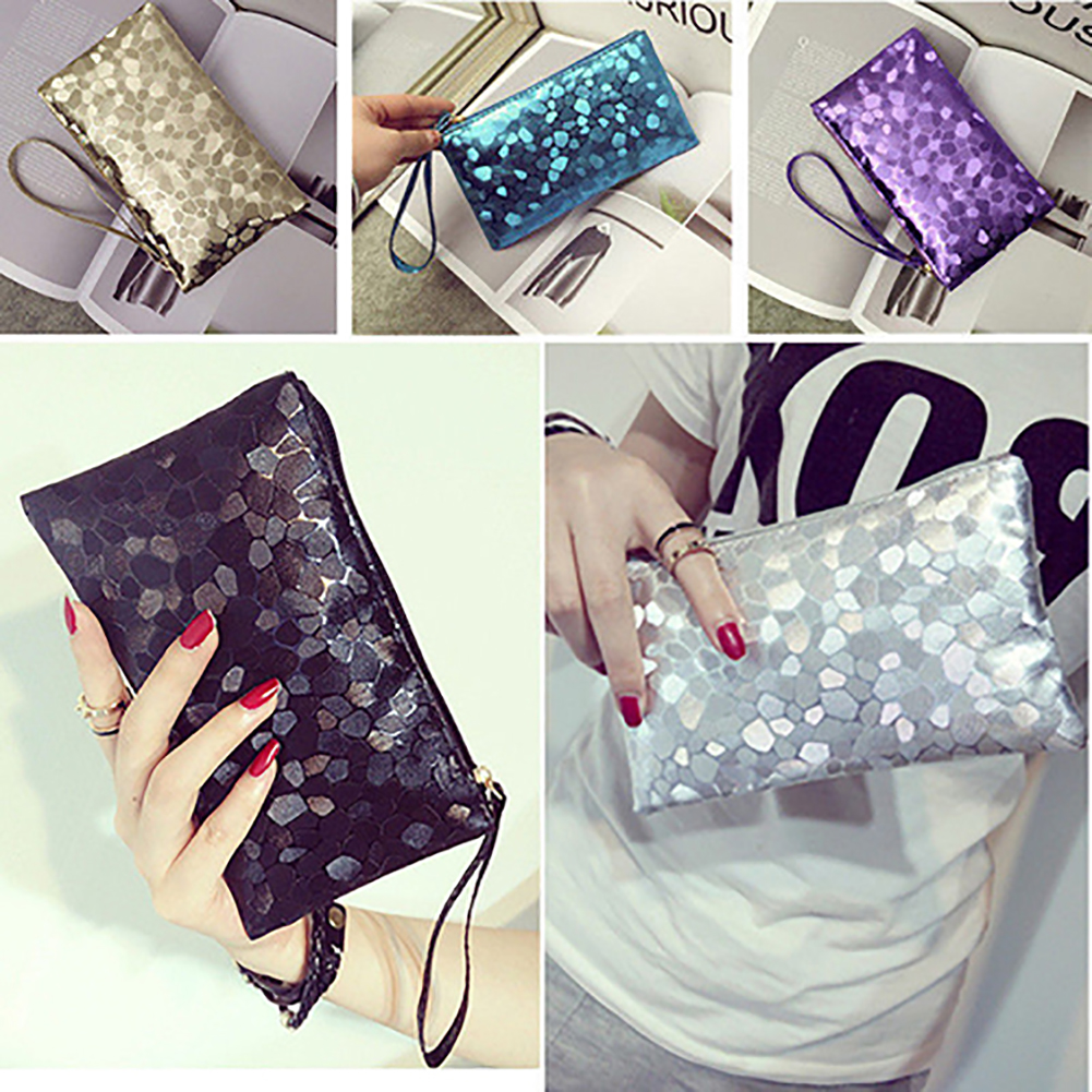 Girl12Queen Women's Glitter Faux Leather Wristlet Clutch Purse Travel Toiletry Makeup Bag