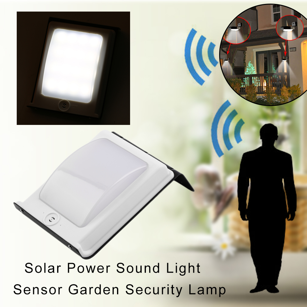 Sensor night light Bright 2 Pcs 16 LED Solar Power Sound Light Sensor Garden Security Lamp