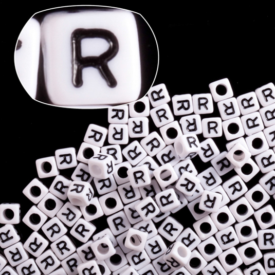 Letter R White Acrylic Cube Alphabet Beads 6mm 50Gram/329pcs