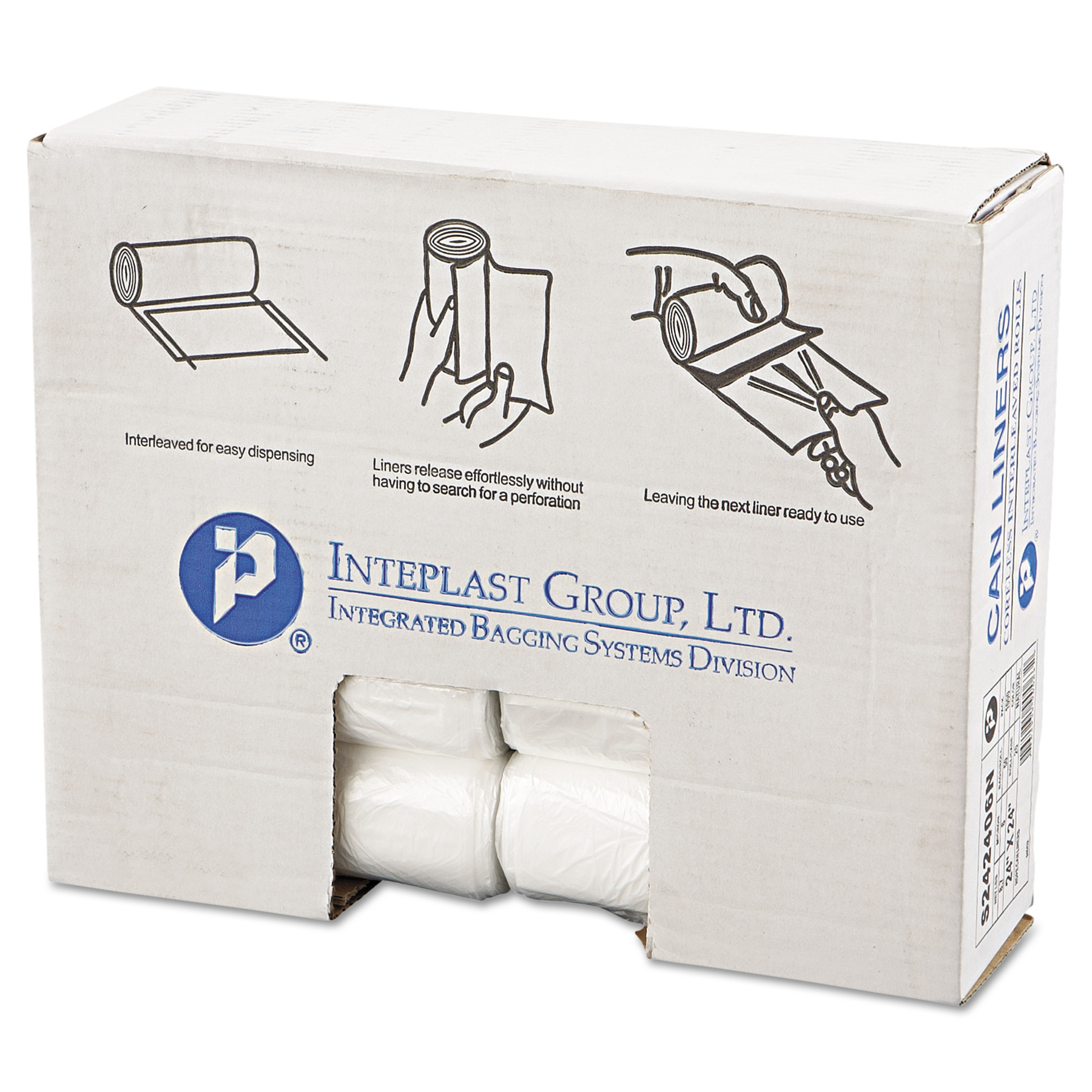 Inteplast Group High-Density Can Liners, 10 Gallon, Natural, 50 count, (Pack of 20)