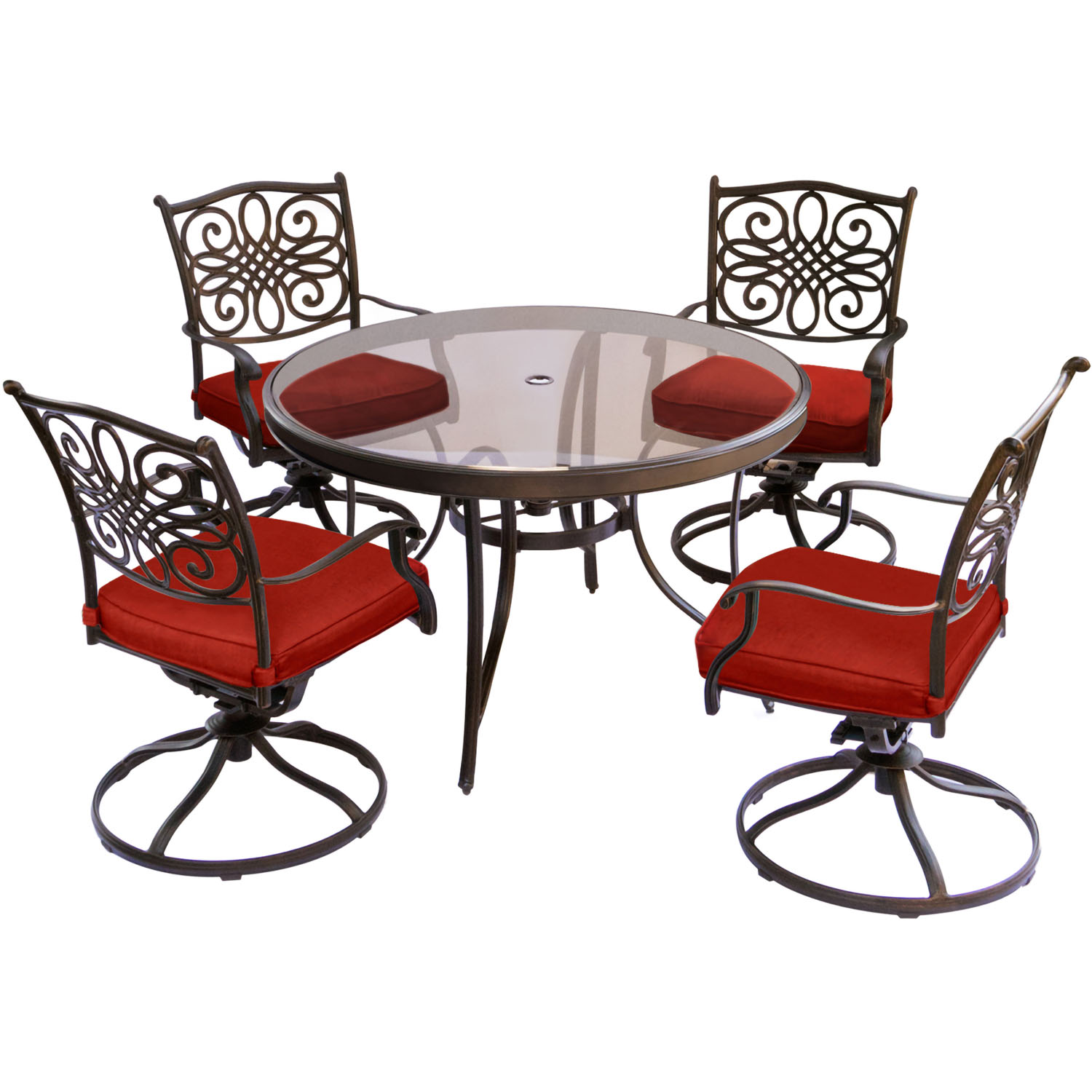 Hanover Traditions 5-Piece Outdoor Dining Set with Round Glass-Top Table and 4 Swivel Rockers