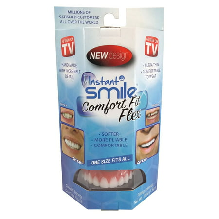 Instant Smile Comfort Fit Flex Teeth w Fitting Material & Case, White, One