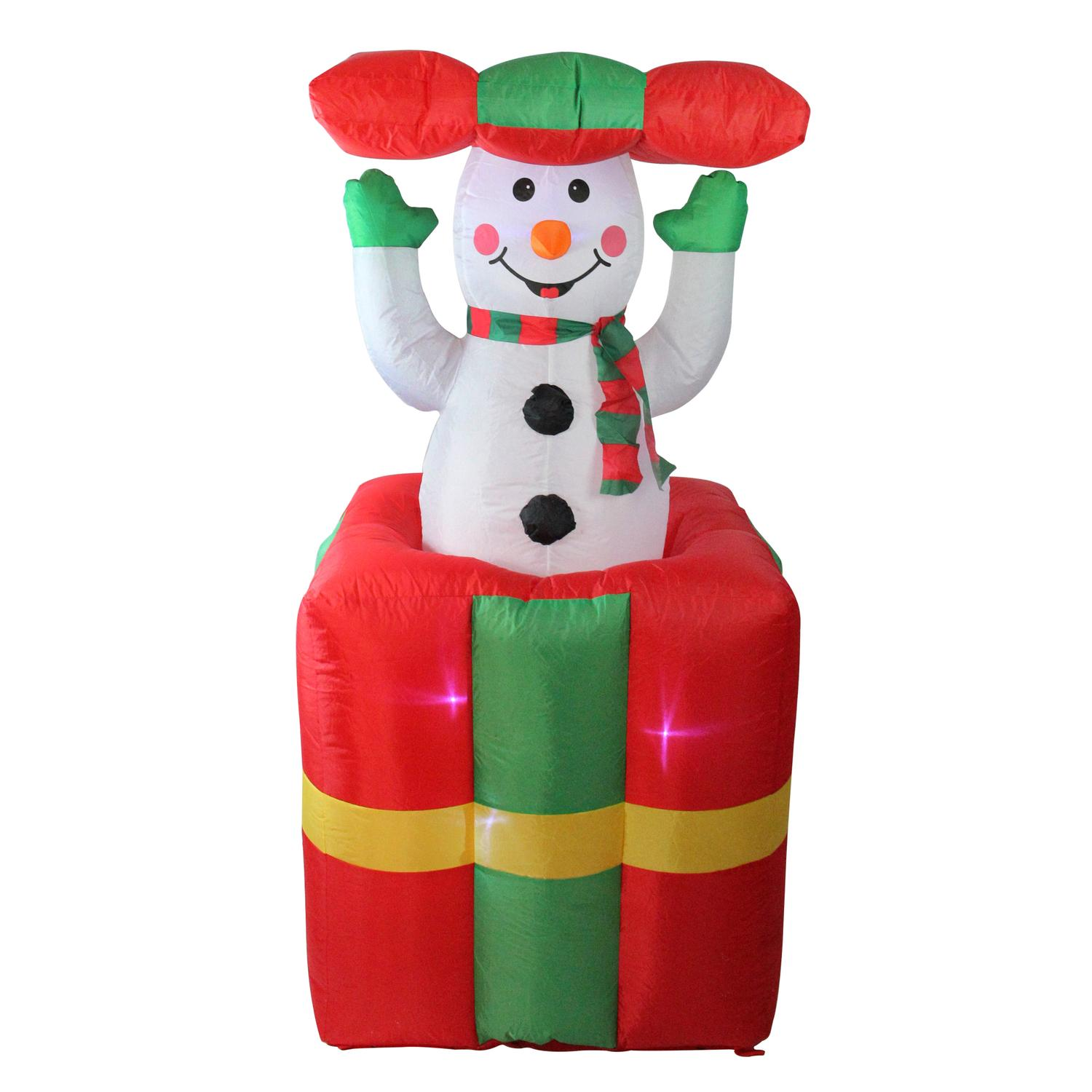 Lb International 5' Lighted Inflatable Pop Up Snowman in Gift Box Christmas Yard Art Decoration