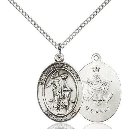 Guardian Angel / Army Military Medal Pendant in Sterling Silver with 18
