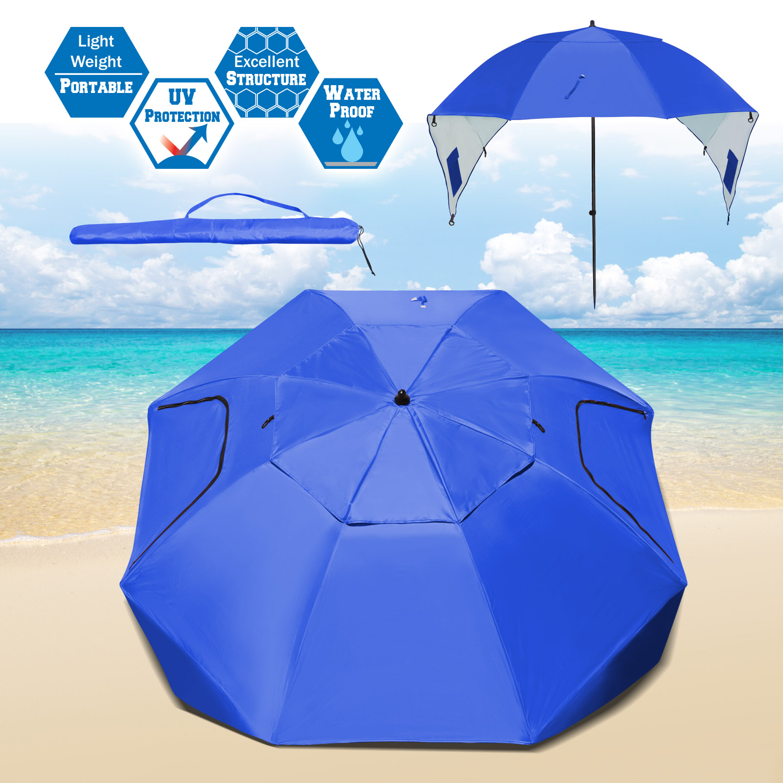 Strong Camel Portable Sun and Weather umbrella Shelter Sport or Beach Canopy Tent 8 Foot Canopy-Blue color