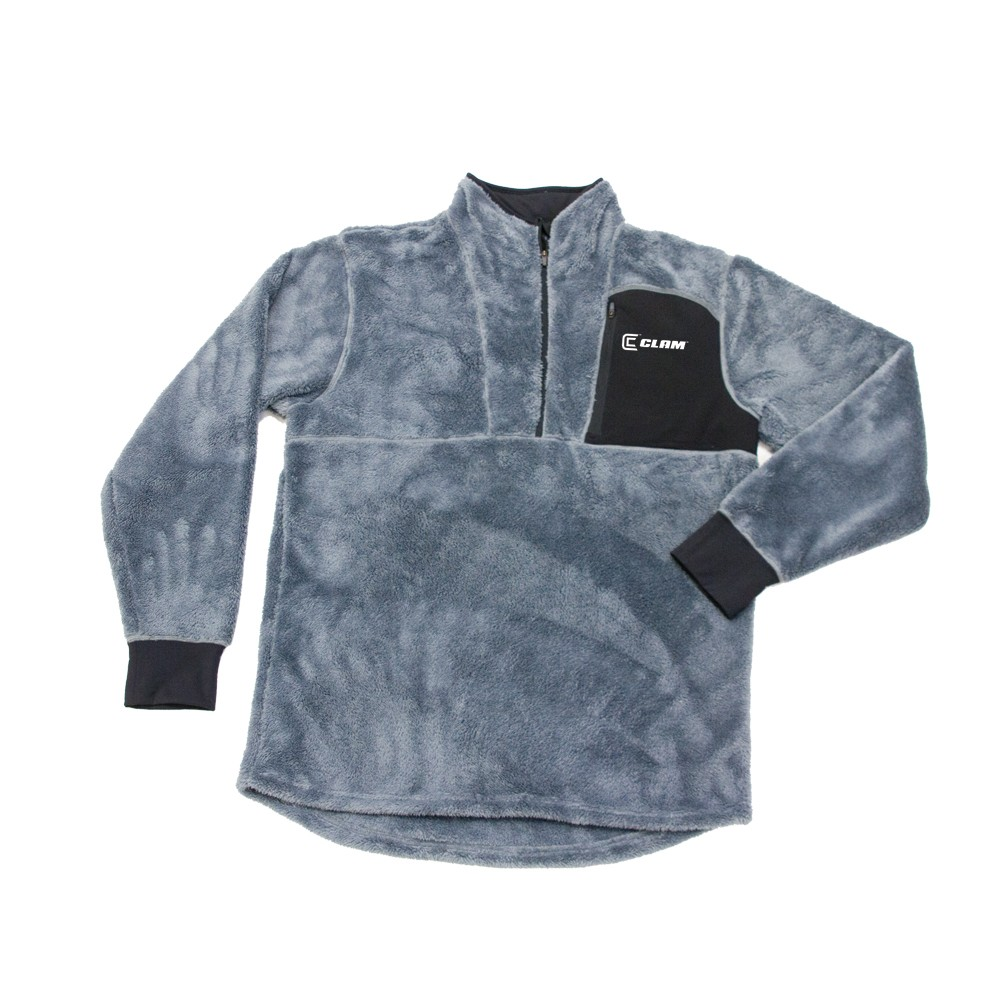 New Clam Outdoors Base Layer Poly Sub Zero High Pile Fleece Top Grey by Clam Outdoors