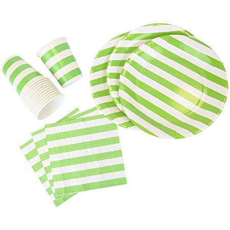 Just Artifacts Disposable Party Tableware 44 Pieces Striped Pattern Dining Set (Round Plates, Cups, Napkins) - Color: Green Apple - Decorative Tableware for Parties, Baby Showers, and Life Celebration - Baby Green Color