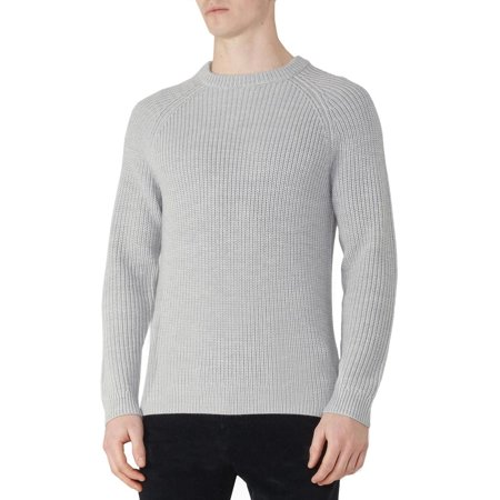 Hardy Amies Heavy Gauge Ribbed Wool & Cashmere Crewneck Sweater XL Grey Jumper
