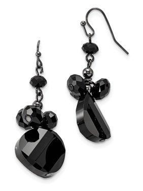 Shepherd hook Black Plating Black-plated Black Crystal Round Drop Earrings Gifts for Women