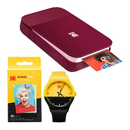 KODAK Smile Instant Digital Printer (Red) Watch Bundle