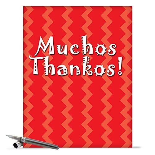 "J9101 Jumbo Humorous Thank You Greeting Card: 'Muchos Thankos Thank You' with Envelope (Large Size: 8.5"" x 11"")"