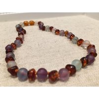 Baltic Amber Necklace Rainbow Mixed Pink Rose Quartz Baby, Infant 11 Inch