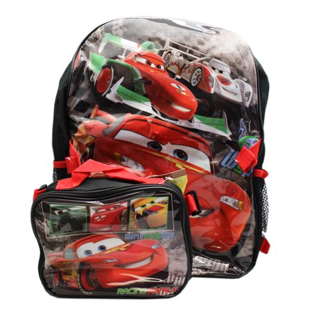 Disney 's Cars Lightning McQueen WGP Black Backpack & Utility Bag (16in) (Lightning Mcqueen Sleeping Bag)