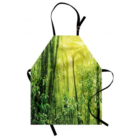 Green Apron Tropical Amazon Wildlife Nature Forest with Branches and Tree Art, Unisex Kitchen Bib Apron with Adjustable Neck for Cooking Baking Gardening, Pale Green and Forest Green, by Ambesonne ()