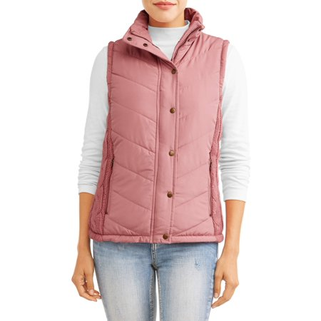 Womens Puffer Vest - Women's Puffer Vest With Cable Knit Side Panels