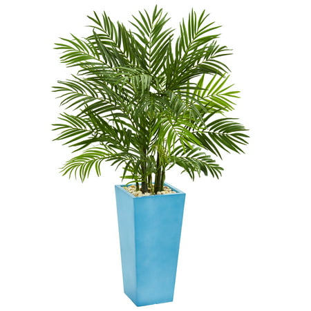 Nearly Natural 4.5' Areca Palm Artificial Tree in Turquoise Planter