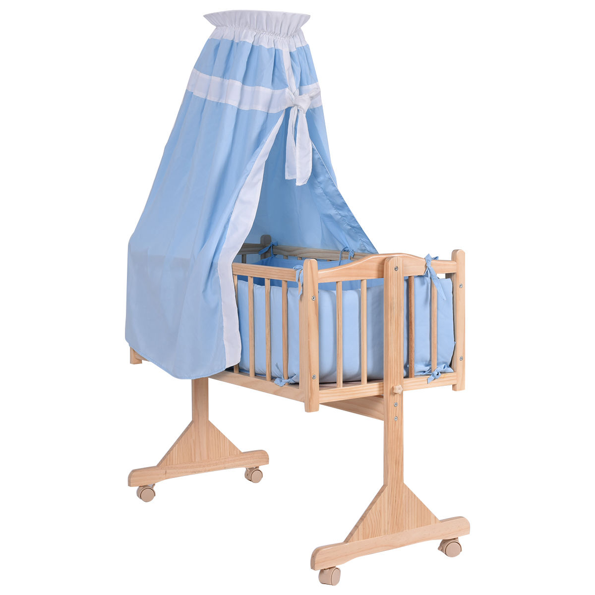 Costway Wood Baby Cradle, Blue