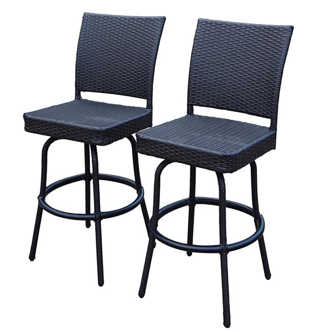 Oakland Living 90064-BS2-CF Elite All Weather Resin Wicker Swivel Bar Stool Coffee, Pack of 2 by Oakland Living Corporation