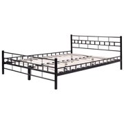 costway queen size wood slats bed frame platform headboard footboard furniture black - Bed Frame With Headboard And Footboard