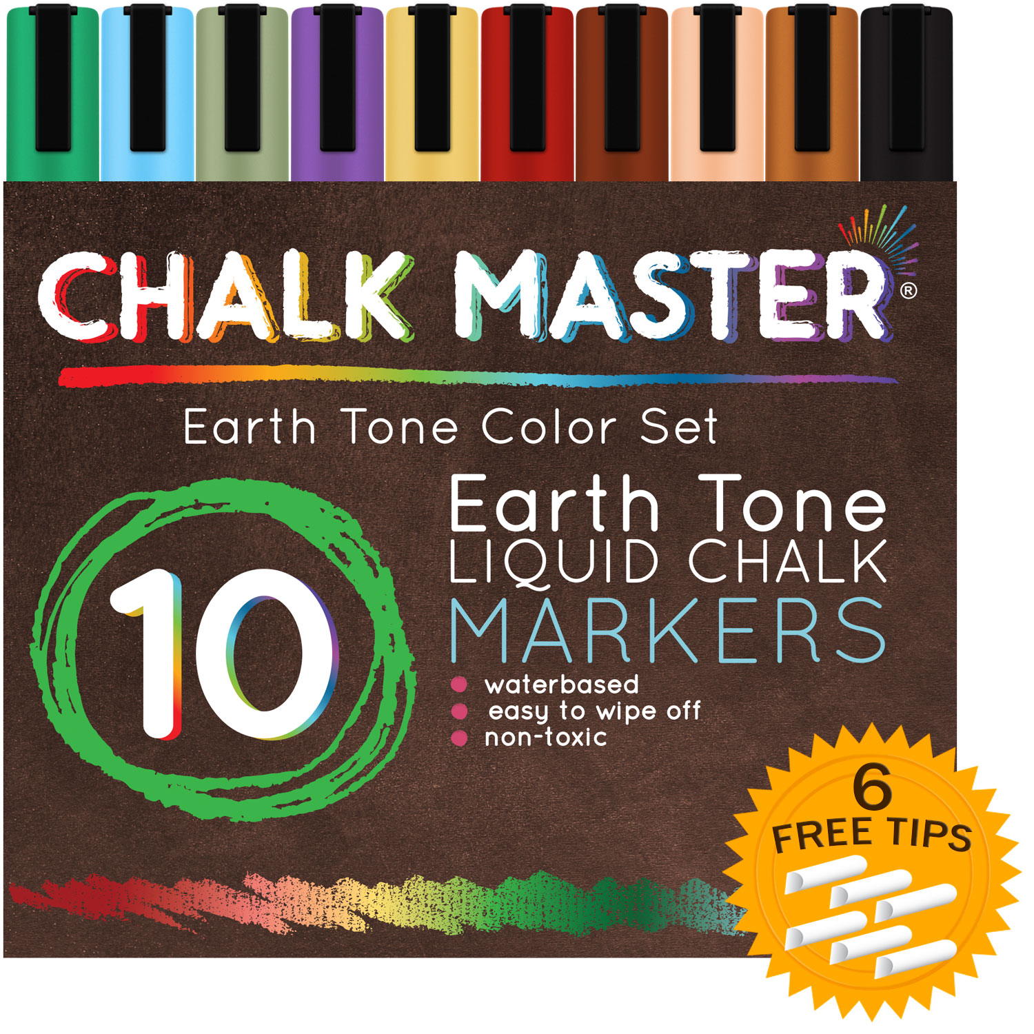 10 Color 6mm Earth Tone Chalkmaster Liquid Chalk Markers Set + 6 Reversible Tip USA LC-10-ER