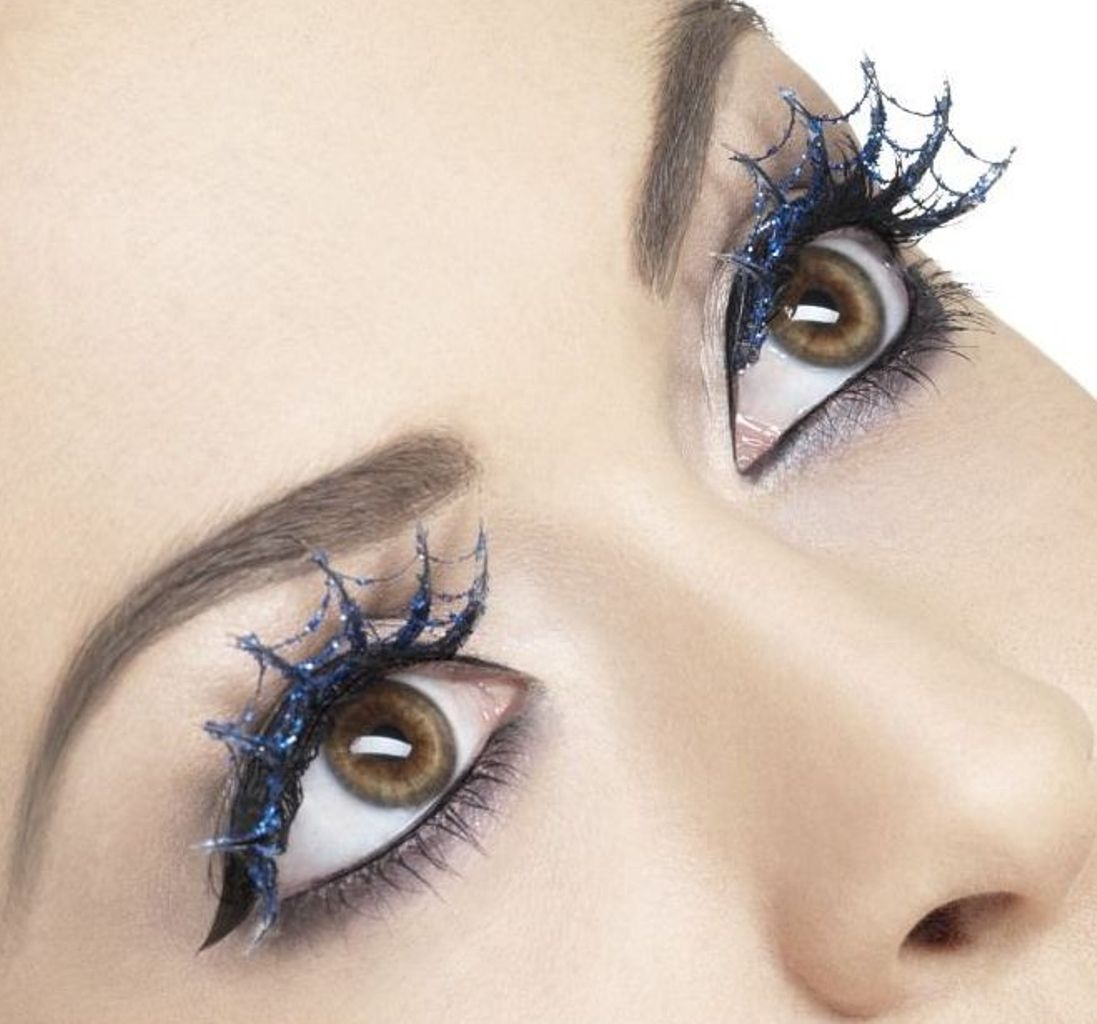Fever Collection Eyelashes Blue Glitter Spiderweb False Lashes W