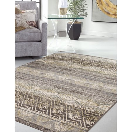 Sutton Lucie Brown, Ivory, Green and Grey Area Rug