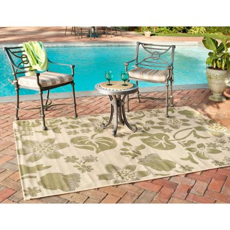 Safavieh  Poolside Cream  Green Indoor  Outdoor Area Rug  8 X 112