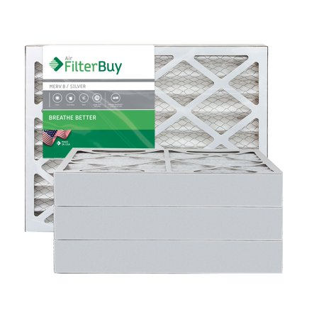 AFB Silver MERV 8 14x20x4 Pleated AC Furnace Air Filter. Pack of 4 Filters. 100% produced in the USA.
