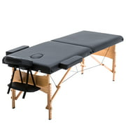 BestMassage Adjustable 2 Folding Portable Massage Table W/ Carry Case, Black