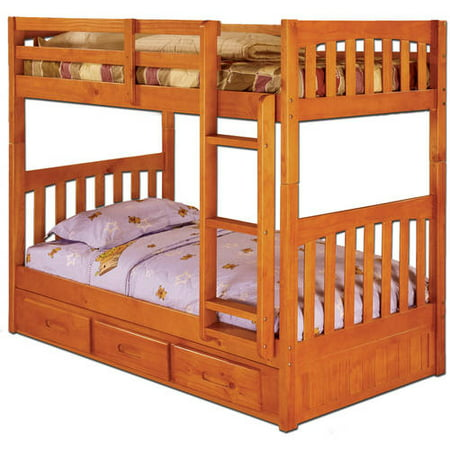 Bunk Bed Honey Finish (American Furniture Classics Twin over Twin size Bunk Bed with Three Drawers in a honey finish . )