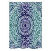 Navy And Teal Stall Shower Curtain Cosmic Diagram Art Mandala Circle Religion Ethnic Ombre