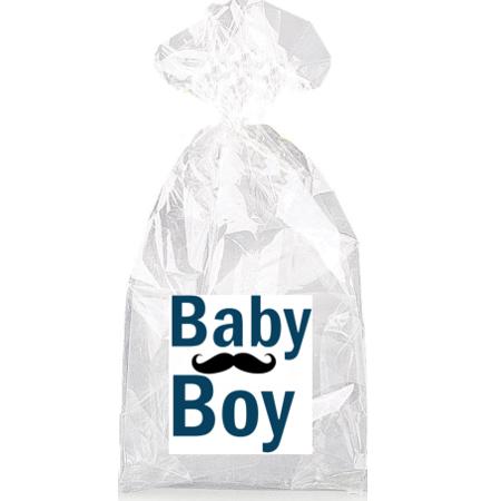 Dark Blue Baby Boy Mustache  Party Favor Bags with Ties - - Baby With Mustache