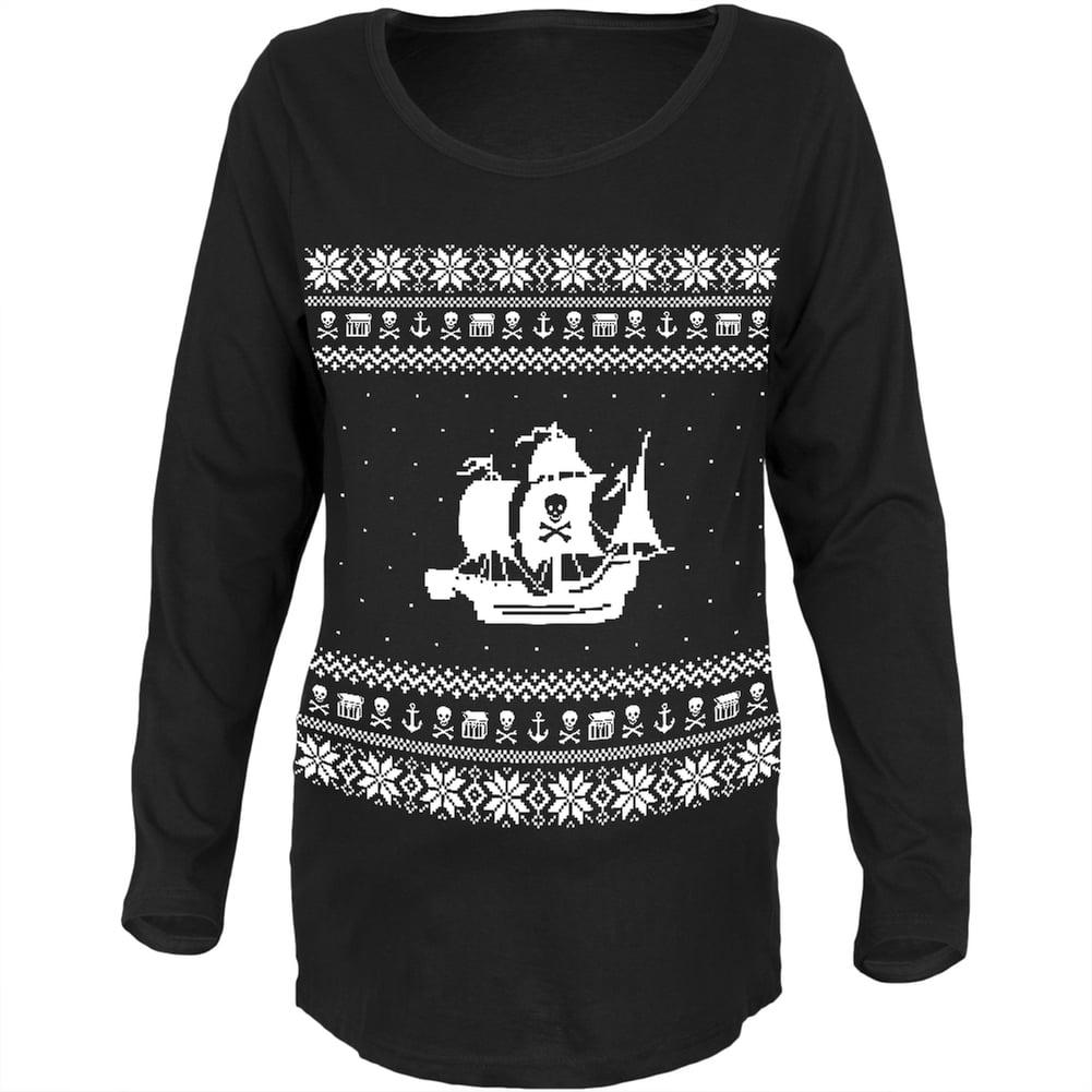 Pirate Ship Ugly Christmas Sweater Black Womens Soft Maternity Long Sleeve T-Shirt