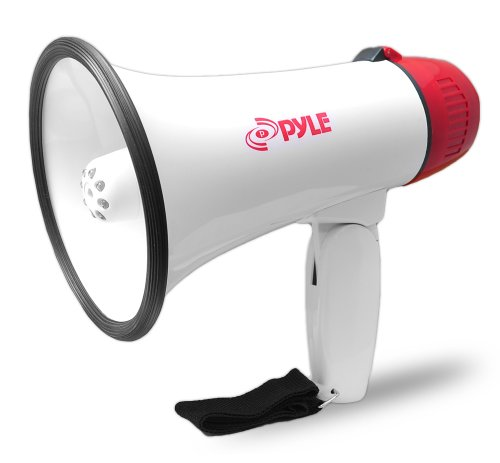 Pylehome Professional Megaphone / Bullhorn With Siren & Led Lights - 30 W Amplifier - White (pmp37led)