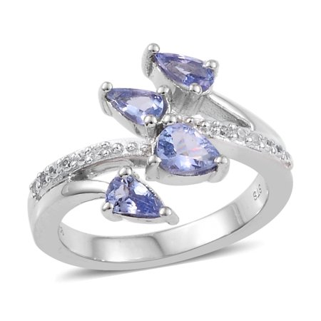 - Pear Tanzanite Ring 925 Sterling Silver Platinum Plated Size 7 Ct 0.8